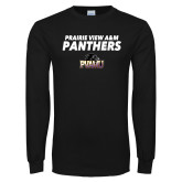 Black Long Sleeve TShirt-Stacked Prairie View A&M Panthers