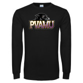 Black Long Sleeve TShirt-Official Logo Distressed