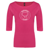 Ladies Dark Fuchsia Perfect Weight 3/4 Sleeve Tee-Marching Storm Cloud Circle