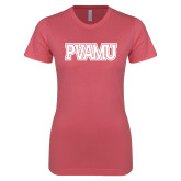 Next Level Ladies SoftStyle Junior Fitted Pink Tee-PVAMU