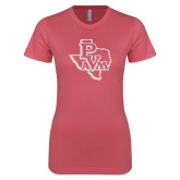 Next Level Ladies SoftStyle Junior Fitted Pink Tee-PVAM Texas White Soft Glitter