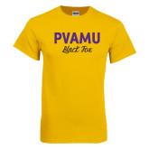 Gold T Shirt-PVAMU Black Fox Script