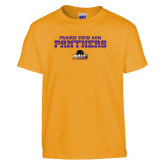 Youth Gold T Shirt-Collegiate Stacked Prairie View A&M Panthers