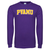 Purple Long Sleeve T Shirt-Arched PVAMU