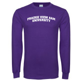 Purple Long Sleeve T Shirt-Arched Prairie View A&M