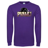 Purple Long Sleeve T Shirt-Official Logo Distressed