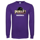 Purple Long Sleeve T Shirt-Baseball
