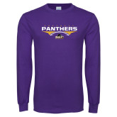 Purple Long Sleeve T Shirt-Football Design