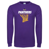 Purple Long Sleeve T Shirt-Basketball Design