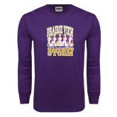 Purple Long Sleeve T Shirt-Praire View marching Storm w/ Majors