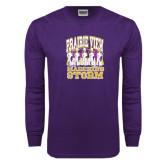 Purple Long Sleeve T Shirt-Praire View marching Storm w/ Majors