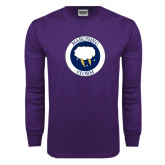 Purple Long Sleeve T Shirt-Marching Storm Cloud Circle