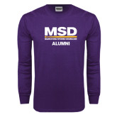 Purple Long Sleeve T Shirt-MSD Alumni