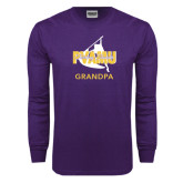 Purple Long Sleeve T Shirt-Twirling Thunder Grandpa