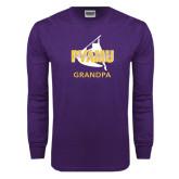 Purple Long Sleeve T Shirt-Twirling Thunder Grandpa
