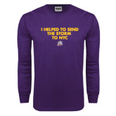 Purple Long Sleeve T Shirt-The Storm To NYC w/ Cloud