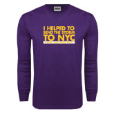 Purple Long Sleeve T Shirt-The Storm To NYC Stacked