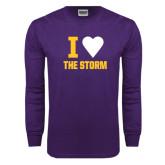Purple Long Sleeve T Shirt-I Heart The Storm