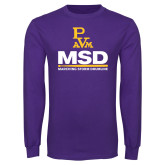 Purple Long Sleeve T Shirt-MSD w/ PVAM Logo