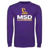 Purple Long Sleeve T Shirt-MSD w/ PVAM Logo