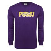 Purple Long Sleeve T Shirt-PVAMU Black Fox Overlap