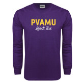 Purple Long Sleeve T Shirt-PVAMU Black Fox Script