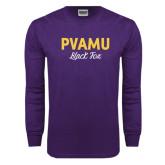 Purple Long Sleeve T Shirt-PVAMU Black Fox Script
