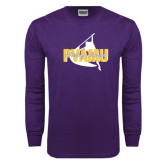Purple Long Sleeve T Shirt-PVAMU Twirling Thunder Logo