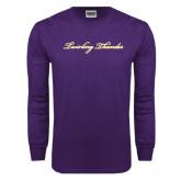 Purple Long Sleeve T Shirt-PVAMU Twirling Thunder Logo