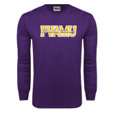 Purple Long Sleeve T Shirt-PVAMU Twirling Thunder Overlap
