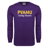 Purple Long Sleeve T Shirt-PVAMU Twirling Thunder Script