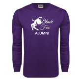 Purple Long Sleeve T Shirt-Black Fox Alumni