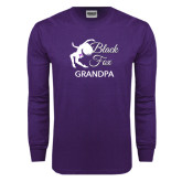 Purple Long Sleeve T Shirt-Black Fox Grandpa