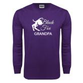 Purple Long Sleeve T Shirt-Black Fox Grandpa