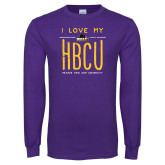 Purple Long Sleeve T Shirt-I LOVE MY HBCU