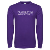 Purple Long Sleeve T Shirt-Word Mark Stacked
