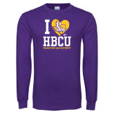 Purple Long Sleeve T Shirt-I Heart My HBCU