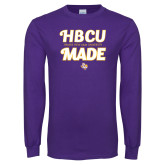 Purple Long Sleeve T Shirt-HBCU Made Script