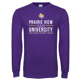 Purple Long Sleeve T Shirt-Stacked Distressed