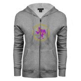 ENZA Ladies Grey Fleece Full Zip Hoodie-PVAM Marching Band Seal