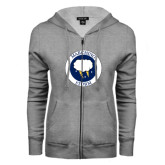 ENZA Ladies Grey Fleece Full Zip Hoodie-Marching Storm Cloud Circle