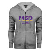 ENZA Ladies Grey Fleece Full Zip Hoodie-MSD Alumni