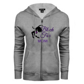 ENZA Ladies Grey Fleece Full Zip Hoodie-Black Fox Mom