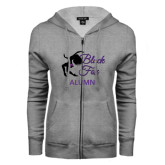 ENZA Ladies Grey Fleece Full Zip Hoodie-Black Fox Alumni