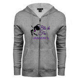 ENZA Ladies Grey Fleece Full Zip Hoodie-Black Fox Grandma
