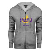 ENZA Ladies Grey Fleece Full Zip Hoodie-Twirling Thunder Mom
