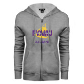 ENZA Ladies Grey Fleece Full Zip Hoodie-Twirling Thunder Alumni