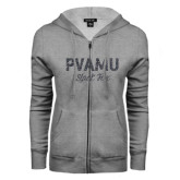 ENZA Ladies Grey Fleece Full Zip Hoodie-PVAMU Black Fox Script