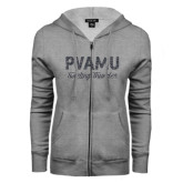 ENZA Ladies Grey Fleece Full Zip Hoodie-PVAMU Twirling Thunder Script