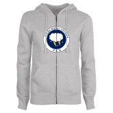 ENZA Ladies Grey Fleece Full Zip Hoodie-Marching Storm Cloud Circle - Fan